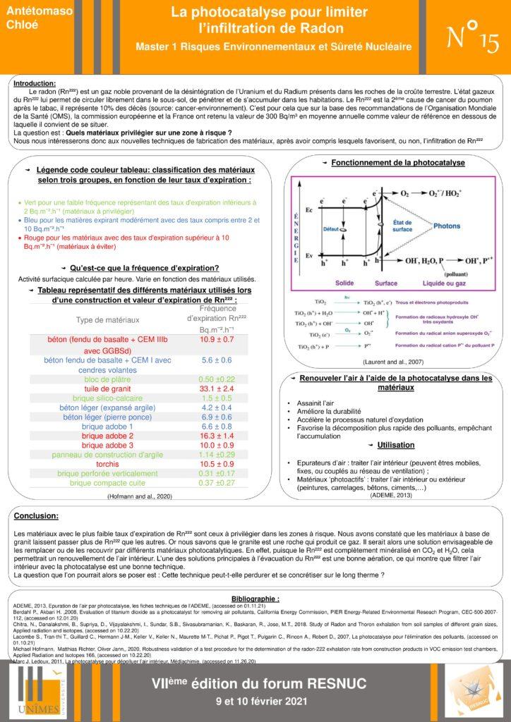 Poster #15 : La photocatalyse pour limiter l'infiltration de Radon