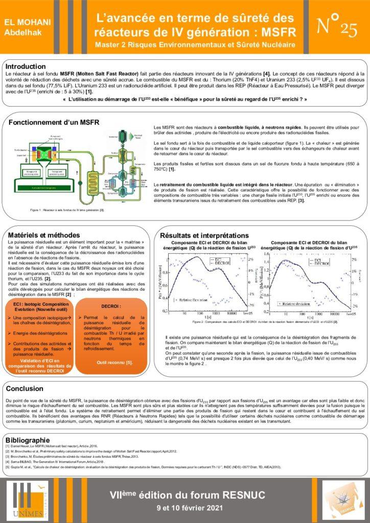Poster #25 : L'avancée en terme de sûreté des réacteurs de IV génération : MSFR