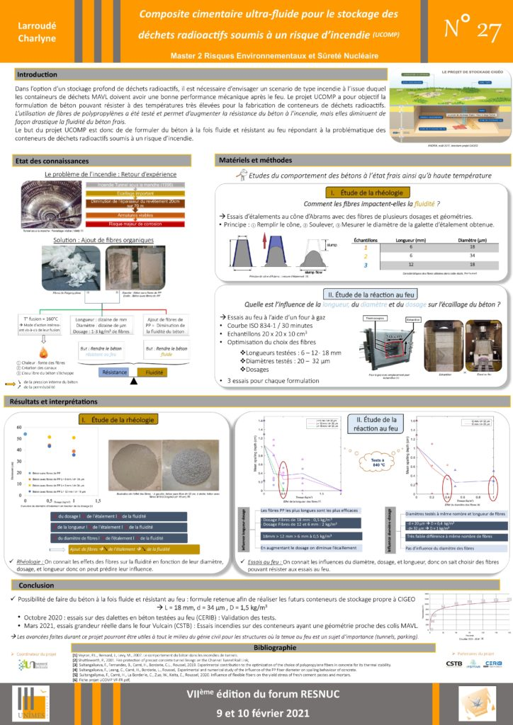 Poster #27 : Composite cimentaire ultra-fluide pour le stockage des déchets radioactifs soumis à un risque d'incendie (UCOMP)